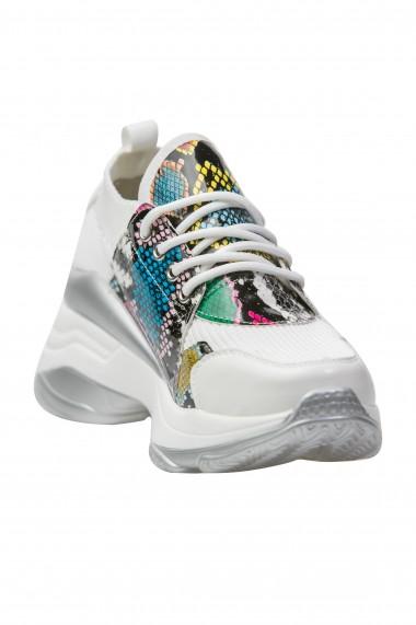 Pantofi sport cu insertii colorate de reptila