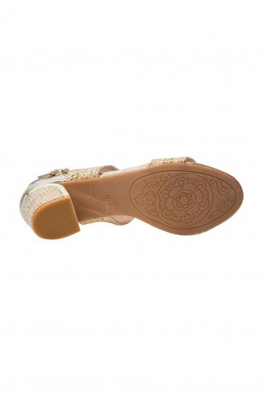 Sandale aurii cu toc impletit