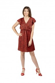 Rochie rosie cu insertii print