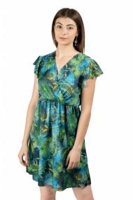 Rochie de satin cu imprimeuri de palmieri