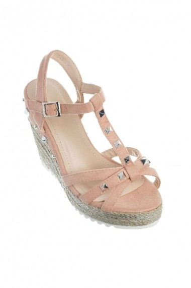 Sandale Rammi roz pudra cu talpa sidefata