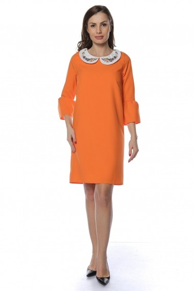 Rochie de zi Crisstalus RO240 portocalie