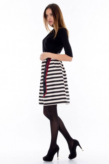 Rochie scurta Roh Boutique alb-negru - DR2244 negru alb