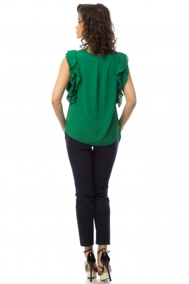 Bluza Roh Boutique verde cu volane - BR1427 verde One Size