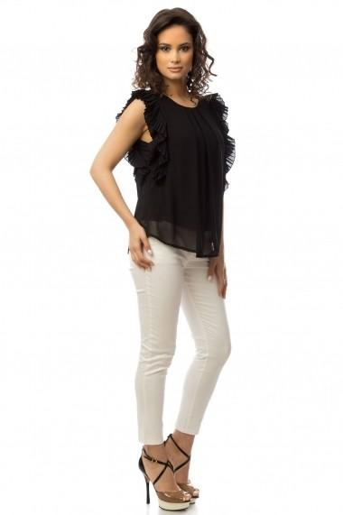 Bluza Roh Boutique Neagra cu volane - BR1428 Neagra One Size
