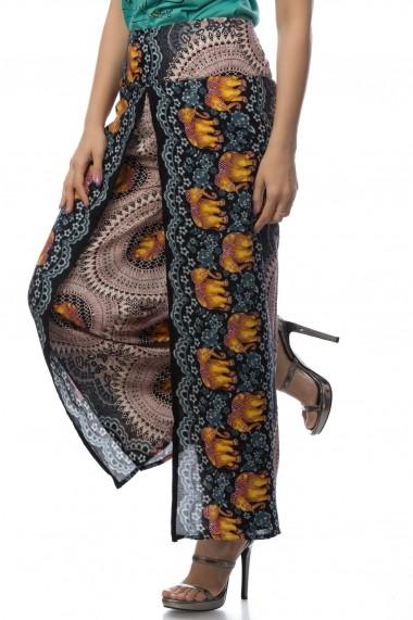 Pantaloni Roh Boutique cu imprimeu elefanti - TR177 negru|multicolor