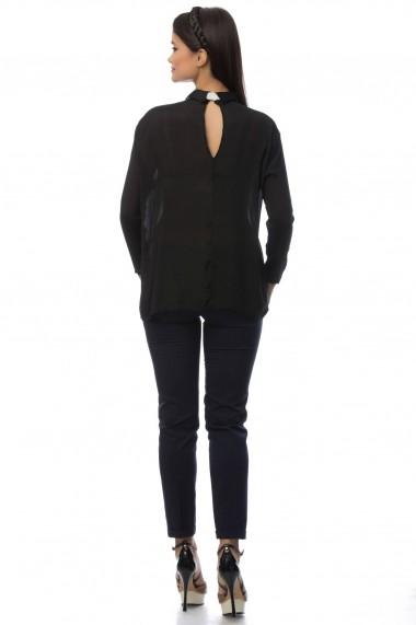 Camasa Roh Boutique neagra accesorizata cu cravata alba - BR1397 negru One Size