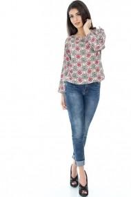 Bluza Roh Boutique Corai cu imprimeu - BR1426 Alba|Corai