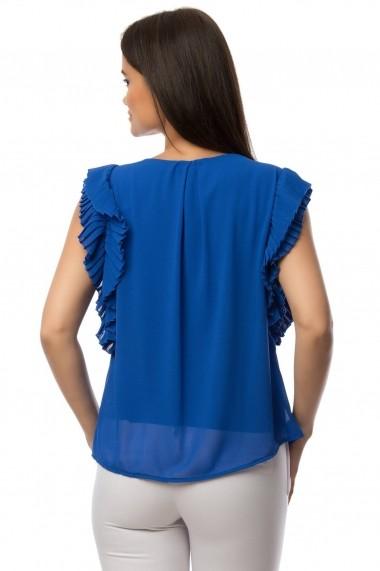 Bluza Roh Boutique albastra cu volane - BR1432 albastru One Size