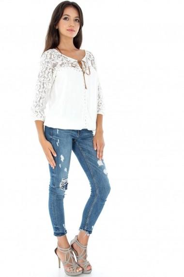 Bluza Roh Boutique cu maneci crosetate - BR1445 crem