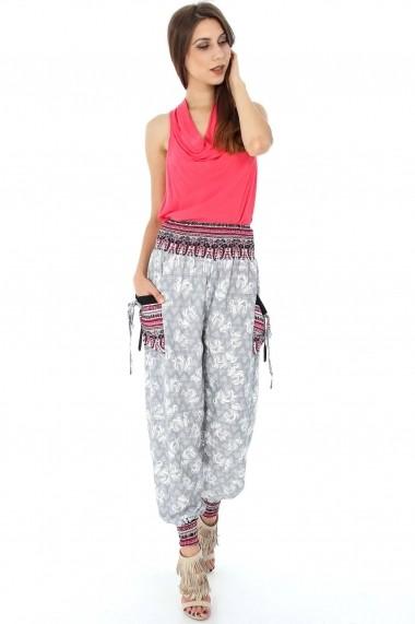 Pantaloni largi Roh Boutique gri de vara - TR188 gri|multicolor