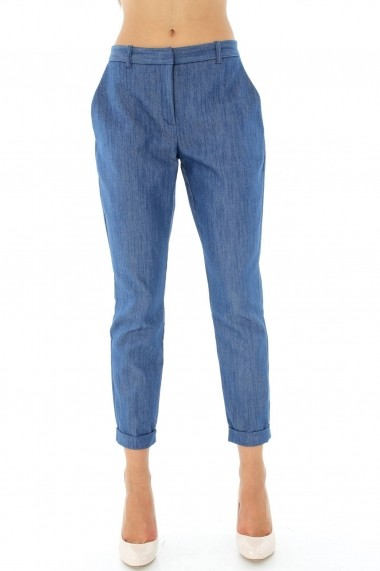 Pantaloni largi Closet London clasici din denim - TR196 negru