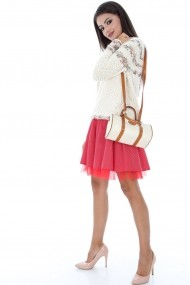Fusta Roh Boutique rosie cu buline - FR337 rosu|alb