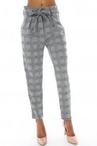 Pantaloni largi Roh Boutique in carouri - TR198 alb|negru