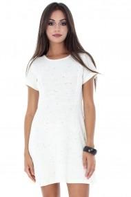 Rochie scurta Roh Boutique tricotata DR3129 alb
