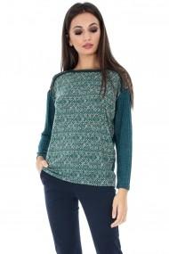 Bluza Roh Boutique verde cu imprimeu - BR1541 verde