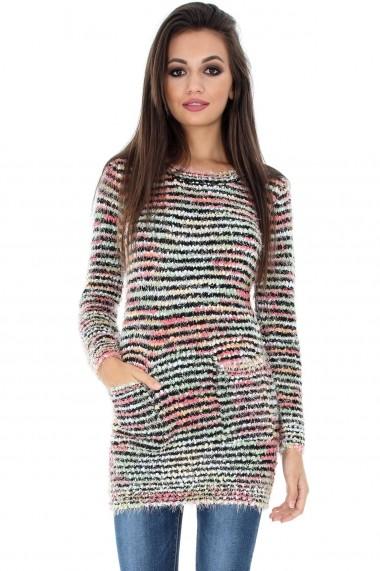 Pulover Roh Boutique lung cu buzunare - BR1549 multicolor