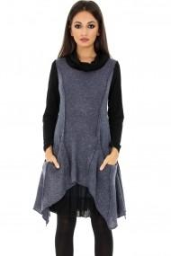 Rochie de zi Roh Boutique - DR3156 Albastra cu negru