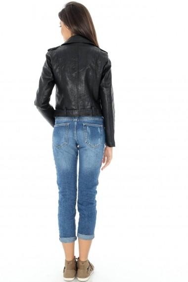 Geaca de piele Roh Boutique - JR346 negru