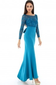 Rochie de seara Roh Boutique lunga albastra cu funda - DR3164 albastra