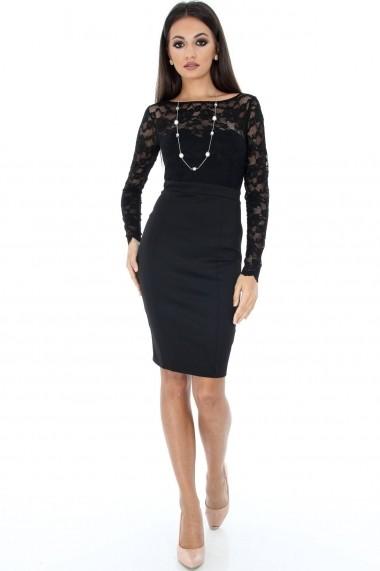 Rochie de seara Roh Boutique midi neagra - DR3165 negru