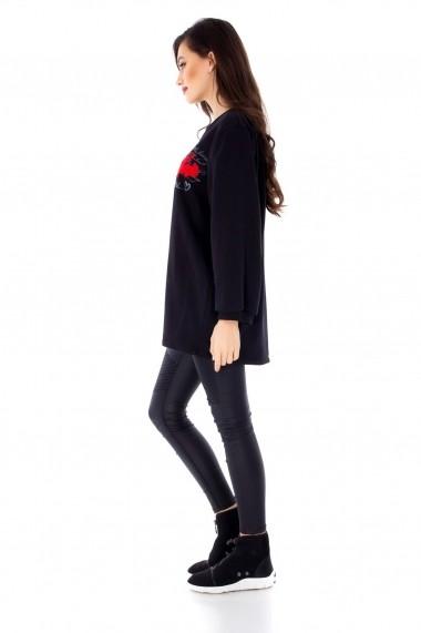 Bluza Roh Boutique casual, ROH, cu broderie florala - BR1706 negru|rosu One Size
