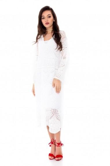 Rochie midi Roh Boutique din dantela - DR3301 Alba