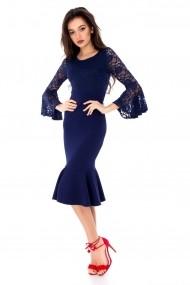 Rochie de seara Roh Boutique eleganta, ROH, cu dantela - DR3306 albastra
