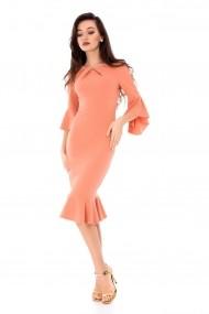 Rochie de seara Roh Boutique eleganta, ROH, cu volane la terminatii - DR3307 roz piersica
