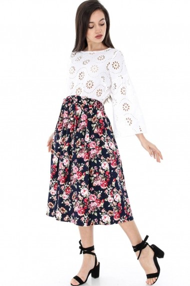 Fusta Roh Boutique Bleumarin, Roh, cu imprimeu floral - FR370 bleumarin One Size