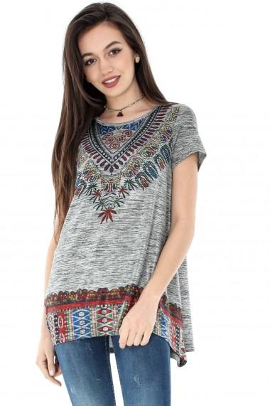 Bluza Roh Boutique gri, ROH, tribal print - BR1744 gri/multicolor