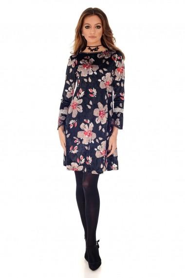 Rochie Roh Boutique neagra, ROH, cu imprimeu floral rosu - DR3691 negru|multicolor