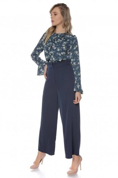 Pantaloni largi Roh Boutique bleumarin, ROH, cu talie inalta - TR299 bleumarin