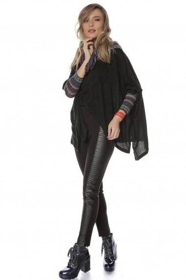 Colanti Roh Boutique negri, ROH, cu aplicatie din piele - TR301 negru