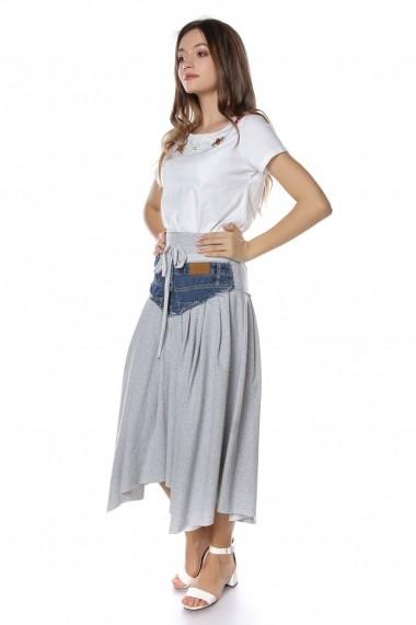 Fusta Roh Boutique midi, gri, cu apliatie din jeans, ROH - FR423 gri