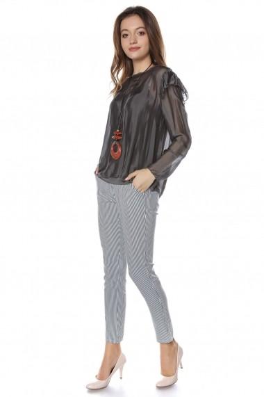 Bluza Roh Boutique Gri, matasoasa, cu maneca lunga, ROH - BR2051 Gri