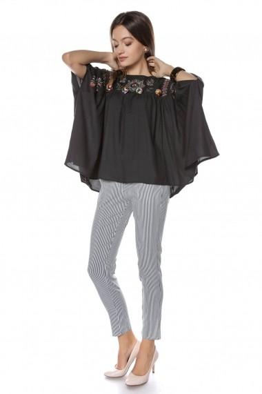 Bluza Roh Boutique neagra, stil fluture, brodata, ROH - BR2057 Neagra