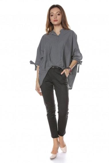 Bluza Roh Boutique stil camasa, Gri cu dungi, ROH - BR2048 Gri