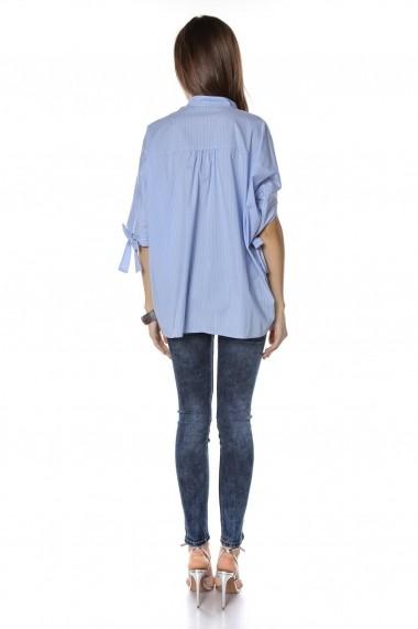 Bluza Roh Boutique stil camasa, Albastra cu dungi Albae, ROH - BR2047 Albastra|Alba