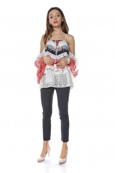 Bluza Roh Boutique rosie cu imprimeu Multicolora, ROH - BR2041 Rosie|Multicolora