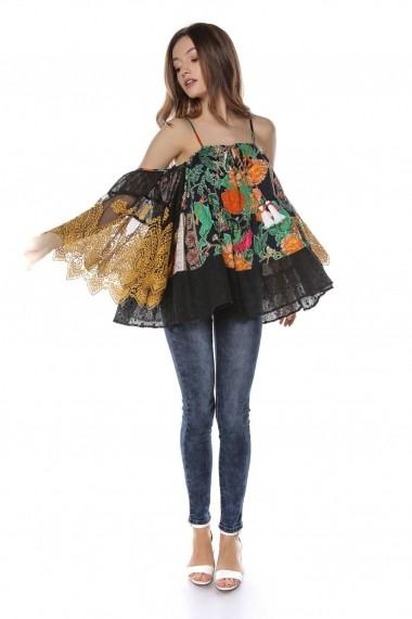 Bluza Roh Boutique neagra cu imprimeu Multicolora, ROH - BR2040 Neagra|Multicolora
