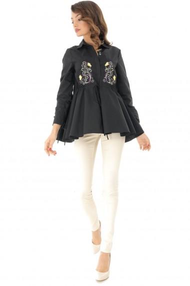 Camasa Roh Boutique neagra, cu broderie pe partea din fata, ROH - BR2062-B negru