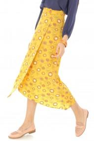 Fusta lunga Roh Boutique midi, galbena, petrecuta, ROH - FR439 galben|multicolor