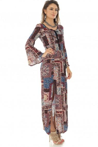 Rochie lunga Roh Boutique maxi, imprimata multicolor, ROH - DR3874 multicolor