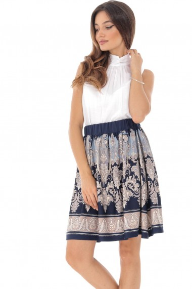Fusta scurta Roh Boutique scurta, bleumarin cu imprimeu crem, ROH - FR456 bleumarin