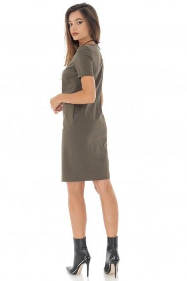 Rochie scurta Roh Boutique Kaki, cu decolteu in V - ROH - DR3960 khaki