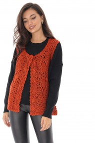 Bluza Roh Boutique caramizie, tricotata, stil vesta, ROH - BR2203 caramiziu