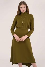Rochie midi CLOSET LONDON verde, asimetrica, cu guler inalt DR4051 kaki