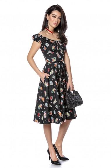 Rochie midi Roh Boutique de vara, neagra, din bumbac DR4133