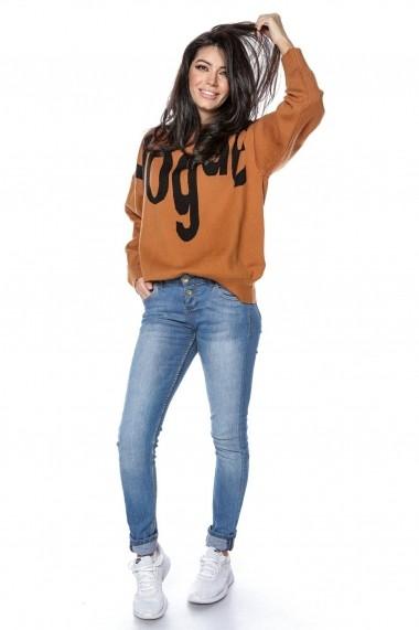 Pulover Roh Boutique tricotat, oversize, cu imprimeu Vogue - Tan - Roh - BR2297 tan